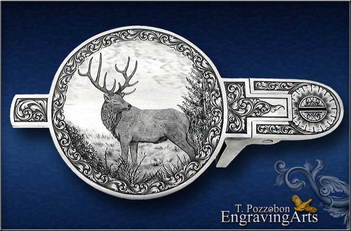 Line engraved stag